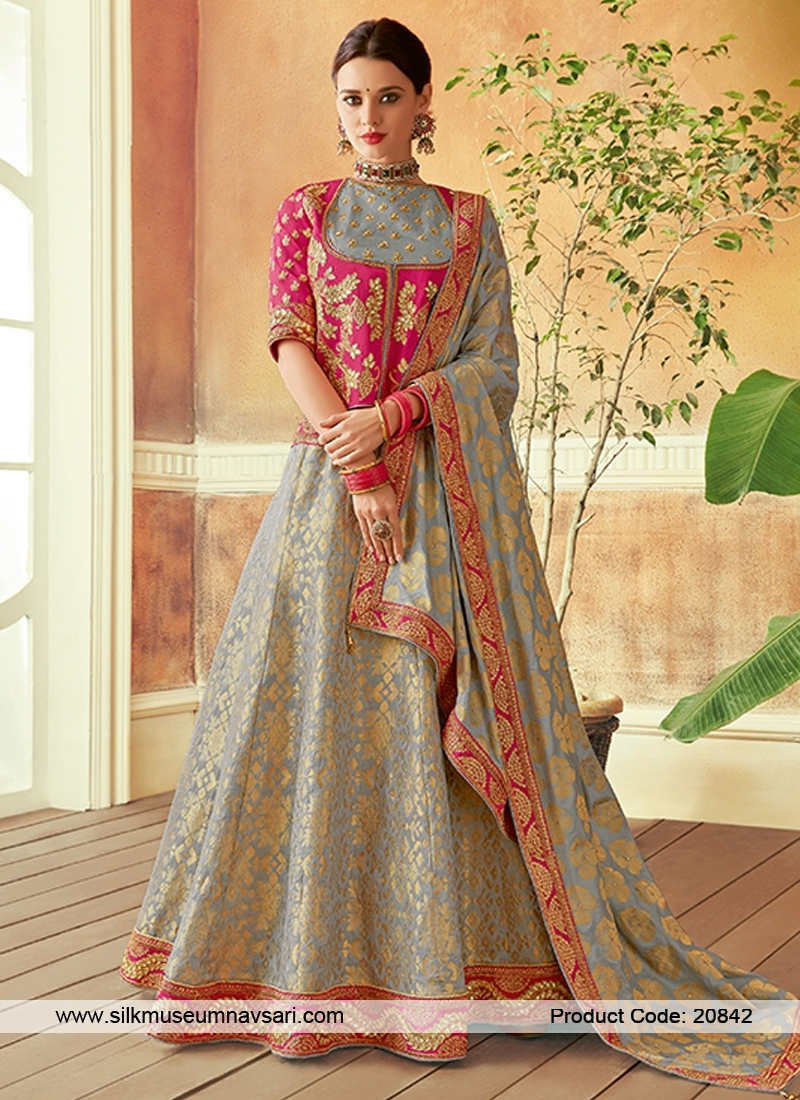 Adorning Light Grey Colour Weaving Lehenga