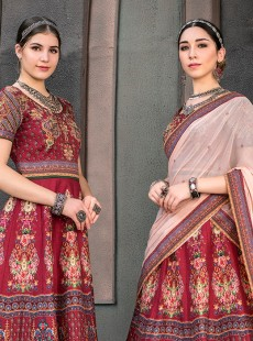 Adorning Maroon Colour Pure Heritage Silk Lehenga