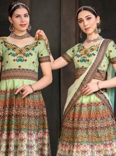 Alluring Pista Green Colour Designer Lehenga