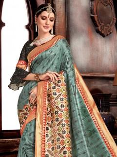 Amazing Bluish Gary Bhagalpuri Silk Saree