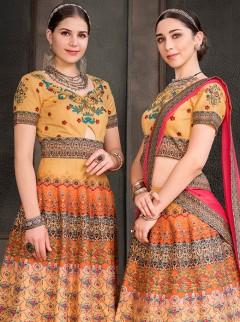 Amazing Mustard Colour Heritage Silk Lehenga