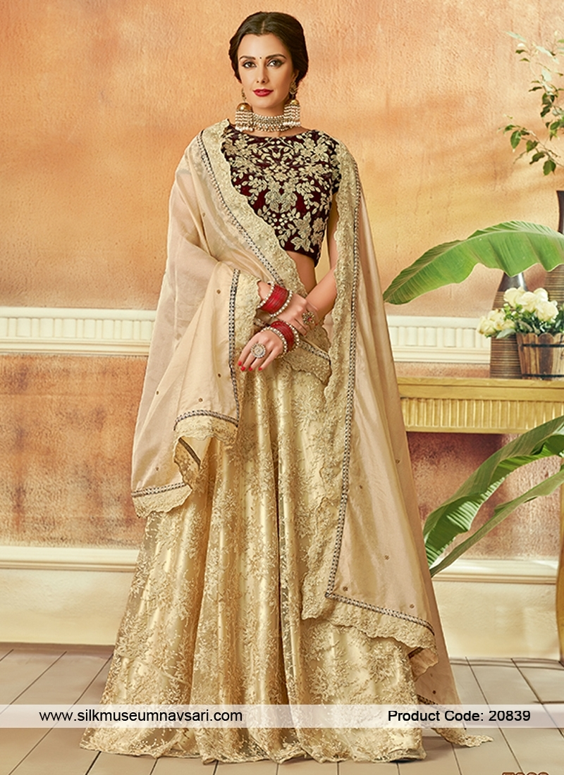 Amazing Net Fabric Designer Gold Lehenga