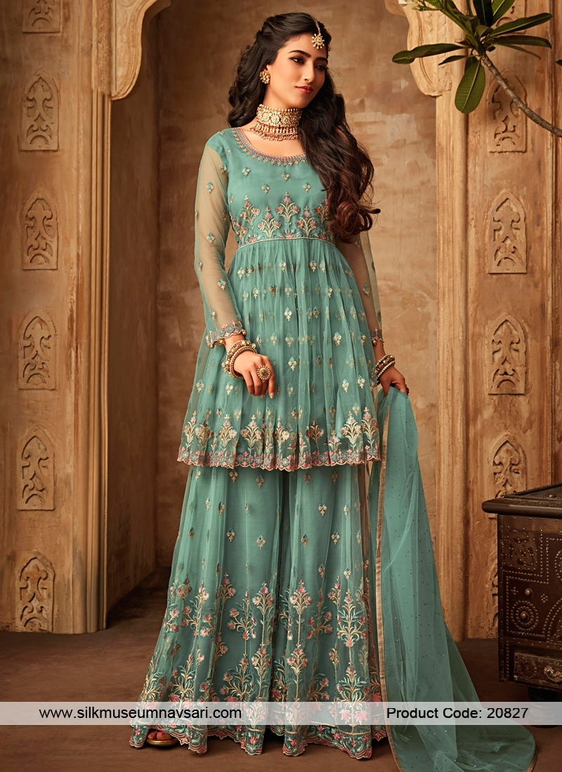 Amazing Net Front And Back Embroidery Suit
