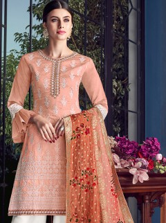 Amazing Peach Colour Embroidery Designer Suit