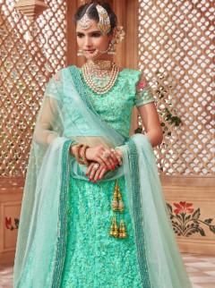 Amazing Turquoise Embroidery Designer Lehenga