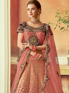 Appealing Dusty Pink Colour Silk Lehenga
