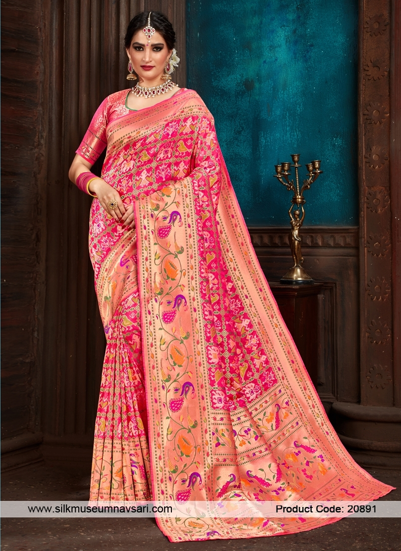 Appealing Hot Pink Weaving Print Saree