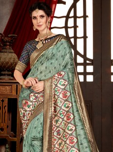 Appealing Weaving Print Designer Saree