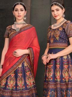 Astounding Blue Colour Heritage Silk Designer Lehenga