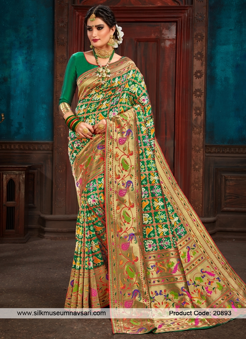 Astounding Green And Gold Colour Patora Saree