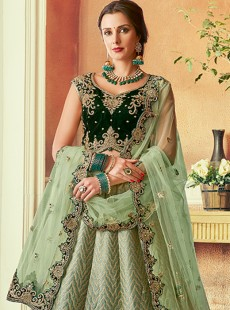 Astounding Pista Colour Heavy Work Designer Lehenga