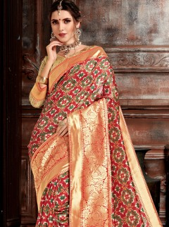 Astounding Weaving Print Designer Saree