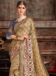 Awesome Beige Colour Patora Saree