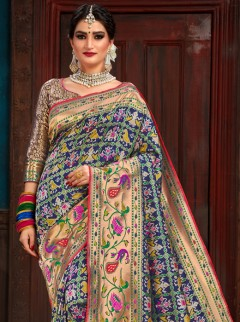 Awesome Blue Colour Patora Silk Saree