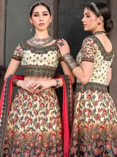 Awesome Cream And Navy Blue Lehenga Choli