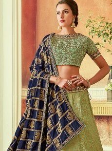 Awesome Light Green Colour Embroidery Lehenga