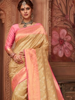 Beautiful Gold And Pink Colour Designer Saree