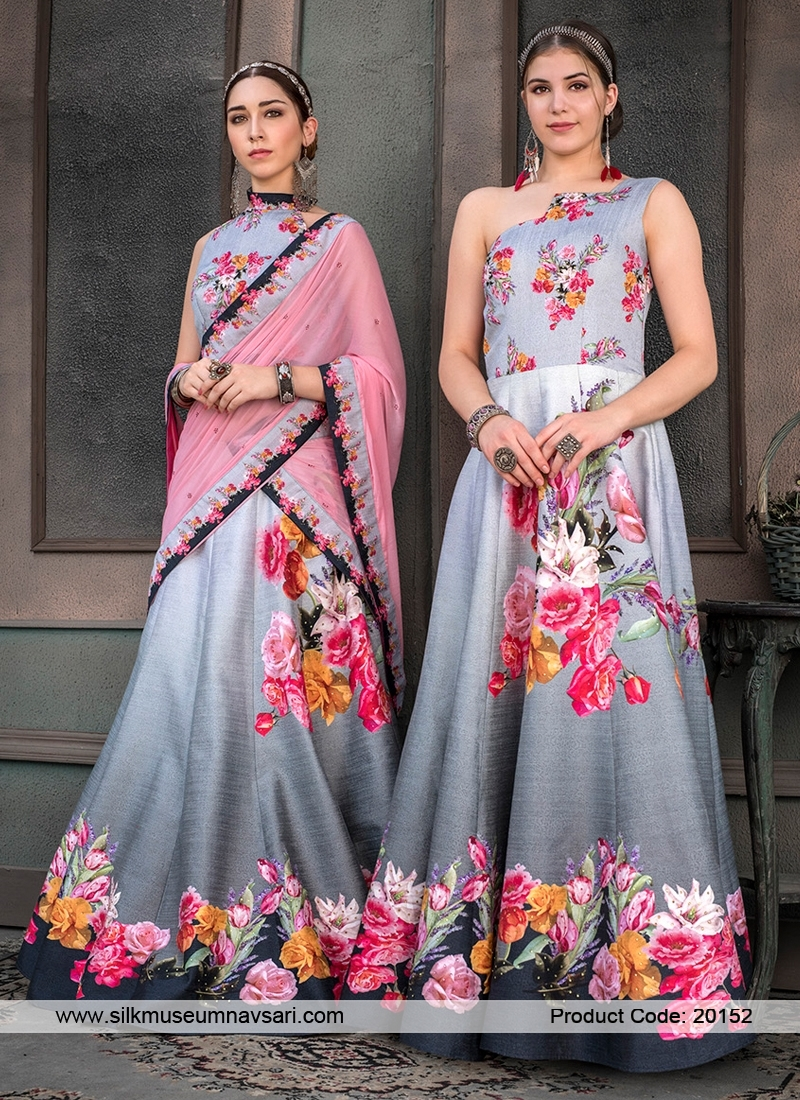 Beautiful Grey Colour Flower Print Designer Lehenga