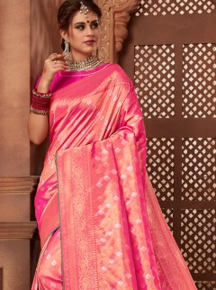 Blooming Hot Pink Colour Silk Saree