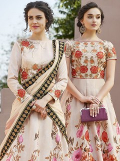 Captivate Look Cream Satin Designer Lehenga Choli