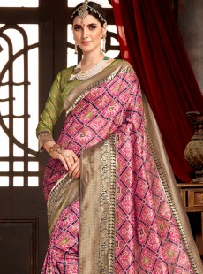 Captivating Pink Colour Patora Silk Saree