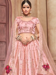 Captivating Pink Colour Silk Designer Lehenga Choli