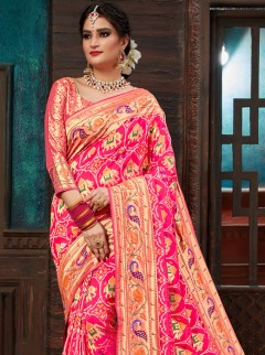 Captivating Rani Pink Colour Patora Saree