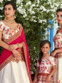 Superb Pink And Off White Lehenga Choli
