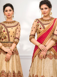 Charming Cream Colour Pure Banarasi Silk Lehenga