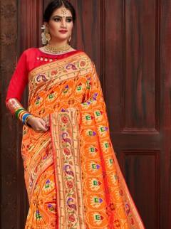 Charming Orange Patora Silk Saree