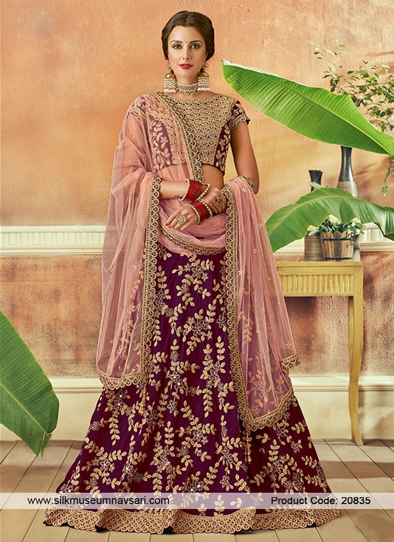 Charming Wine Colour Embroidery Lehenga