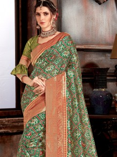 Classical Green Patora Silk Print Designer Saree