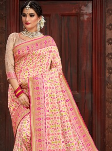 Classical Light Pink Resham Work Saree
