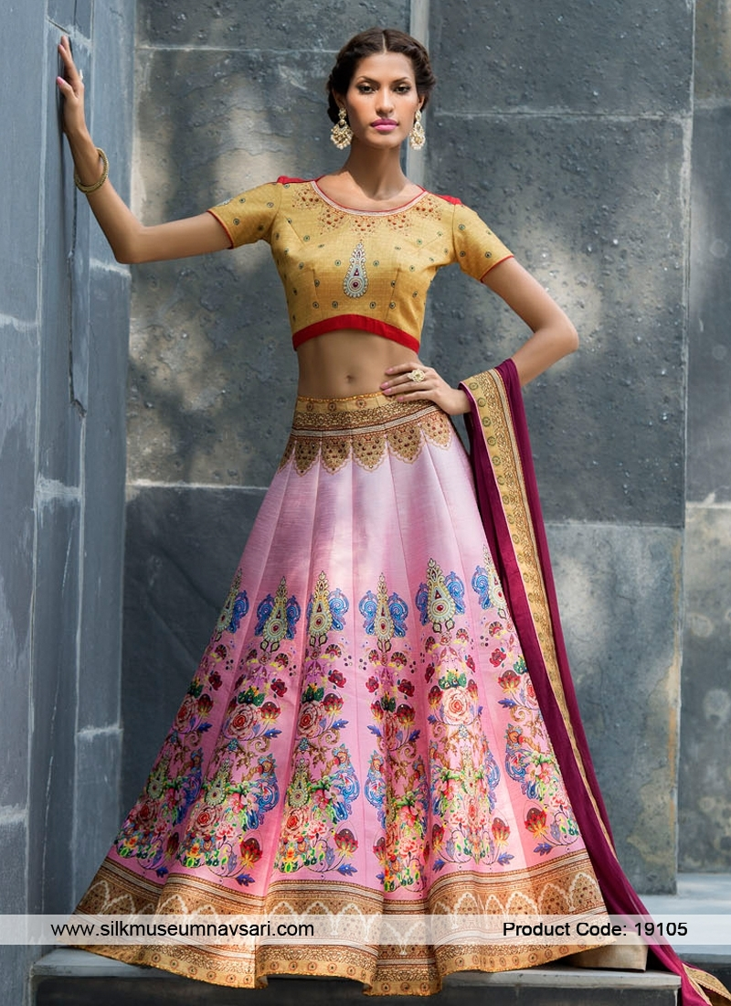 Classical Look Silk Printed Casual Wear Lehenga Choli