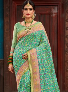 Classy Light Green Printed Designer Saree