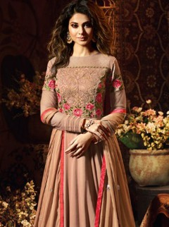Dainty Chocolate Colour Embroidery Suit