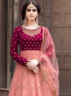 Dainty Pink Colour And Embroidery Suit