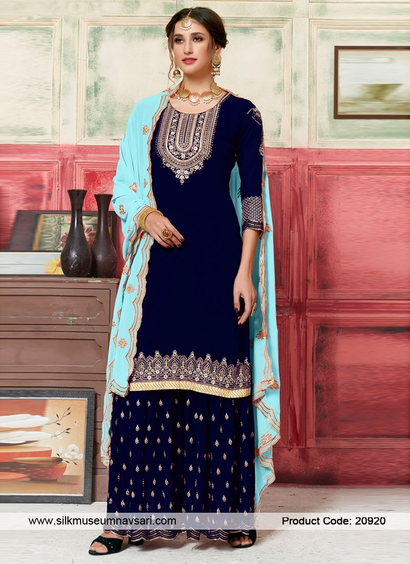 Designer Navy Blue Georgette Plazzo Suit