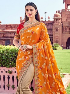Designer sarees orange with beige combilation half half saree