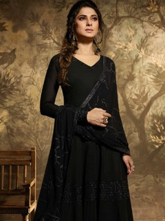 Efficient Black Colour Georgette Designer Suit