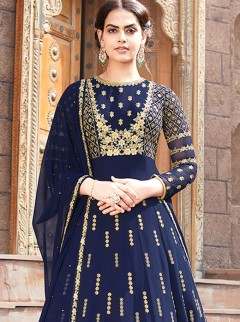 Efficient Navy Blue Colour Embroidery Suit