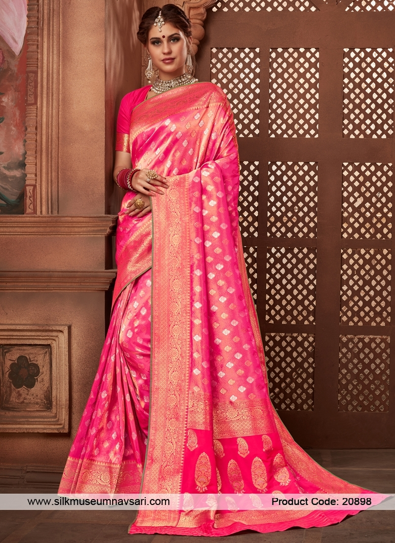 Elite Pink Colour Weaving Designer Saree