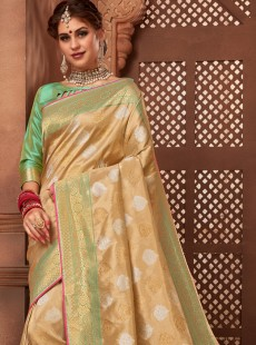 Excellent Gold And Light Green Designer Saree