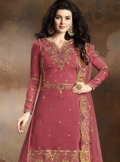 Excellent Red Violet Colour Designer Suit