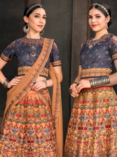 Excellent Sandy Brown Designer Lehenga
