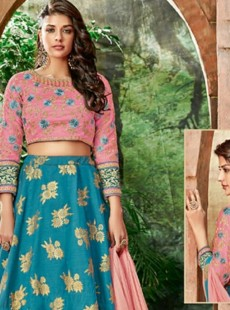 Excellent Sky Blue Resham Butta Work Lehenga