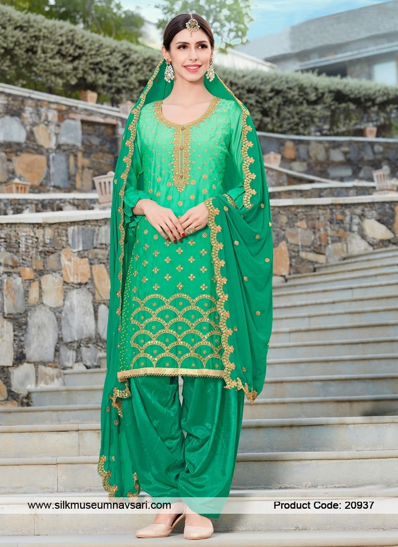 Exclusive Light Green Party Wear Salwar Suit