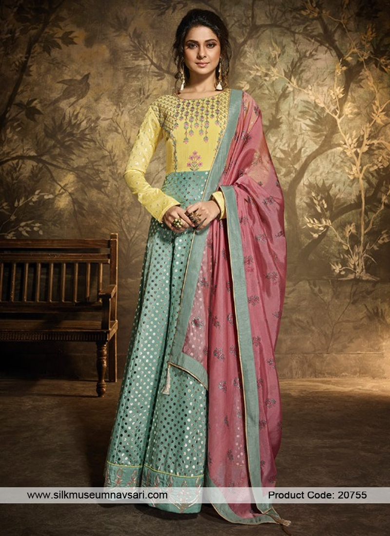 Exclusive Sea Green Dola Silk Suit