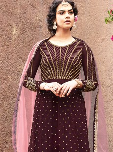 Exclusive Wine Colour Georgette Suit
