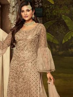 Fantastic Gold Colour Net Designer Suit